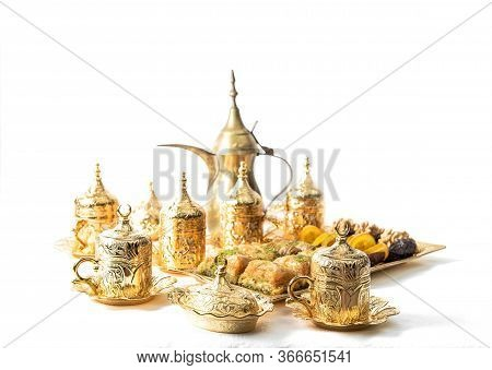 Coffee Tea Cups, Sweet Food, Delight And Golden Decoration. Oriental Hospitality