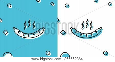 Black Sausage With Steam Icon Isolated On Blue And White Background. Grilled Sausage And Aroma Sign.