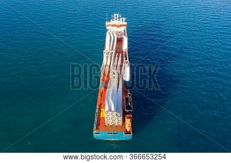 Heavy Load Carrier Ship Loaded With Electric Turbine Blades