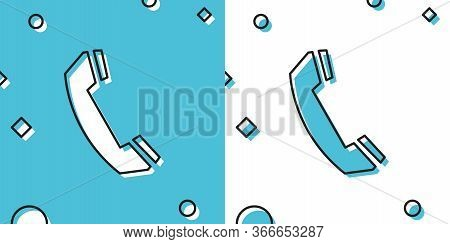 Black Telephone Handset Icon Isolated On Blue And White Background. Phone Sign. Call Support Center