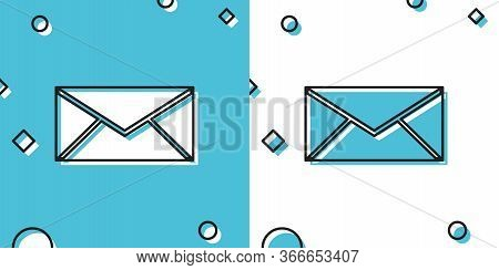 Black Envelope Icon Isolated On Blue And White Background. Email Message Letter Symbol. Random Dynam