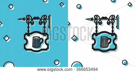 Black Street Signboard Hanging On Forged Brackets With Wooden Mug Of Beer Icon On Blue And White Bac