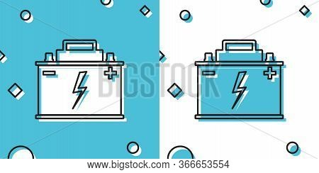 Black Car Battery Icon Isolated On Blue And White Background. Accumulator Battery Energy Power And E