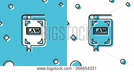 Black Law Book Icon Isolated On Blue And White Background. Legal Judge Book. Judgment Concept. Rando