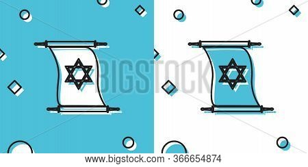 Black Torah Scroll Icon On Blue And White Background. Jewish Torah In Expanded Form. Torah Book Sign