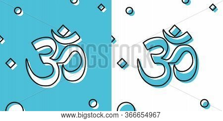 Black Om Or Aum Indian Sacred Sound Icon On Blue And White Background. Symbol Of Buddhism And Hindui