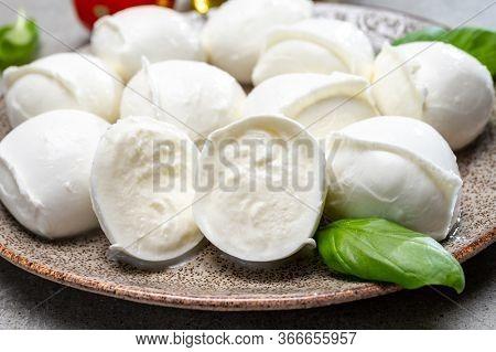 Tasty Italian Food, Fresh White Buffalo Mozzarella Soft Cheese Balls From Campania Close Up
