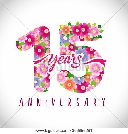 15 Th Anniversary Numbers. 15 Years Old Logotype. Floral Pink Congrats. Isolated Abstract Graphic De