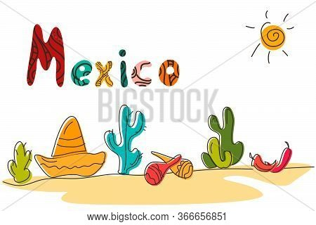 Mexico Typography Quote Banner With Colorful Text. Festive Mexican Illustration Ideal For National H