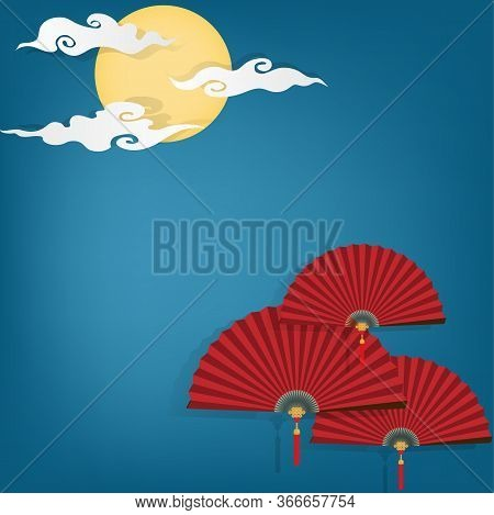 Red Chinese Folding Fans On Blue Sky With Full Moon And Clouds Background With Your Copy Space. Vect