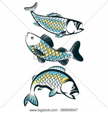 Fish Silhouette Set For Fishing Vector Fisherman