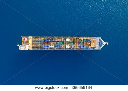 Cargo Ship Loaded With Large Shipping Crates, Aerial Image