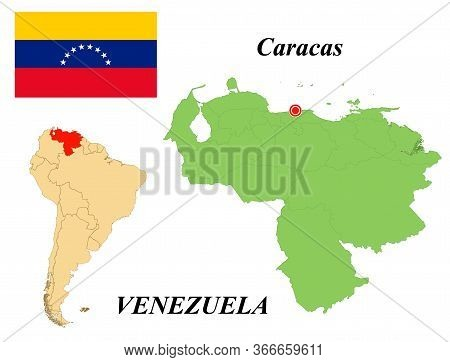 The Bolivarian Republic Of Venezuela. The Capital Is Caracas. Flag Of Venezuela. Map Of The Continen