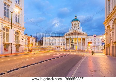 Cityscape of Brussels Royal Square with Palace Cathedral Chapelle in Brussels downtown Belgium Benelux Eu. EU Begium city landmark and shopping center for tourism and travel destination concept.