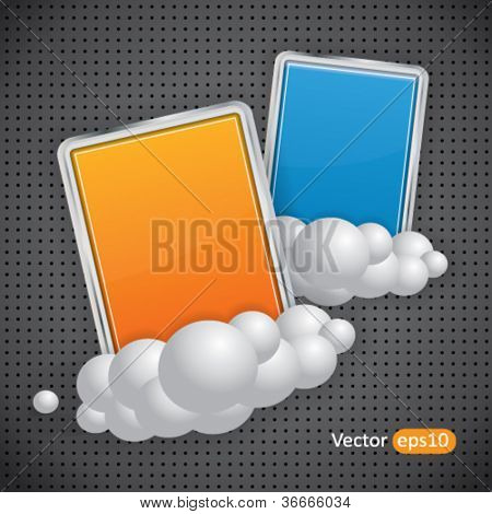 Two rectangular glossy banners on clouds and dark background