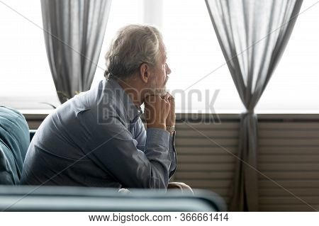 Pondering Old Senior Hoary Man Thinking Of Psychological Health Problems.