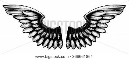 A Pair Of Spread Woodcut Etching Vintage Style Wings