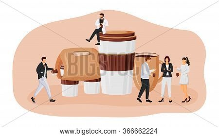 Coffee Take Out Flat Concept Vector Illustration. Coffeeshop Take Away. Employees Meeting For Lunch.