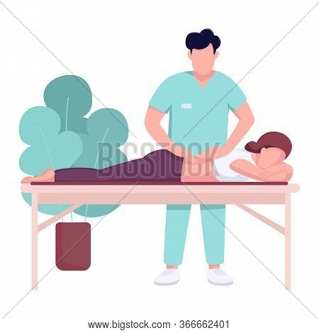 Hospital Masseur And Patient Flat Color Vector Faceless Character. Backpain Therapy, Spinal Injury R