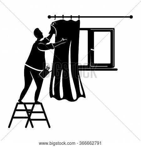 Man Putting On Curtains Black Silhouette Vector Illustration. Guy Decorating Interior. Home Repairs.