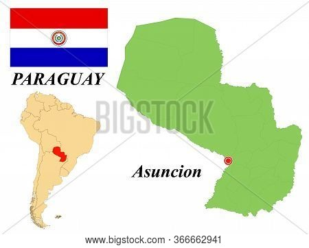 Republic Of Paraguay. The Capital Is Asuncion. Flag Of Paraguay. Map Of The Continent Of South Ameri