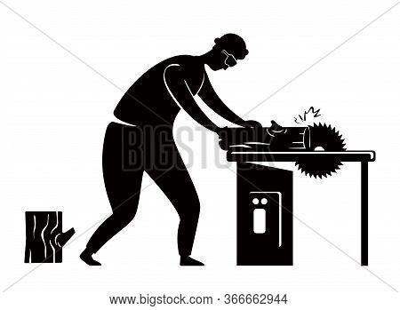 Carpenter Black Silhouette Vector Illustration. Craftsman With Circular Saw. Home Repairs. Working P