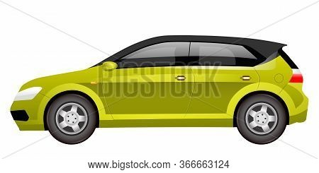 Green Hatchback Cartoon Vector Illustration. Family Friendly Vehicle Flat Color Object. Comfortable
