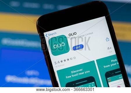 New York, Usa - 15 May 2020: Olio Mobile App Logo On Phone Screen, Close-up Icon, Illustrative Edito