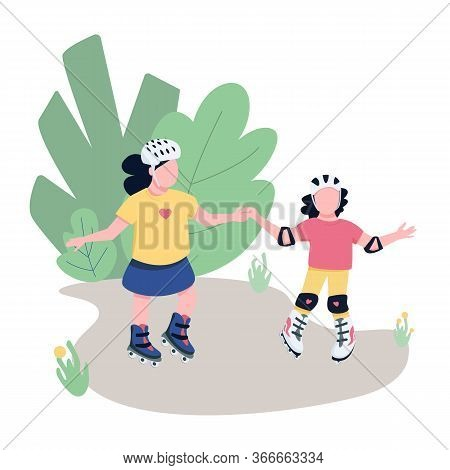 Friends Roller Skating In Park Flat Color Vector Faceless Characters. Children Training Rollerbladin