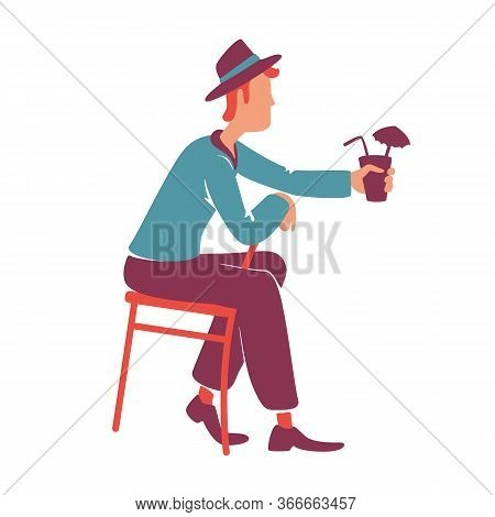 Retro Style Guy Drinking Cocktail Flat Color Vector Faceless Character. Male Handsome In 1940s Cloth