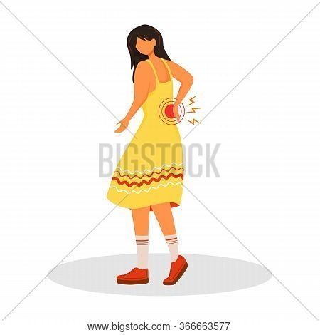 Lower Back Pain Flat Color Vector Faceless Character. Woman Suffering Kidney Problems. Sick Female P