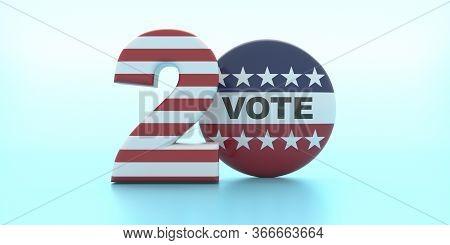 Vote On 2020 Us America Election. Vote On Round Pin Badge Against Pastel Blue Background. 3D Illustr