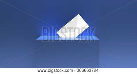 Ballot Box And Envelope On Blue Background. 3D Illustration