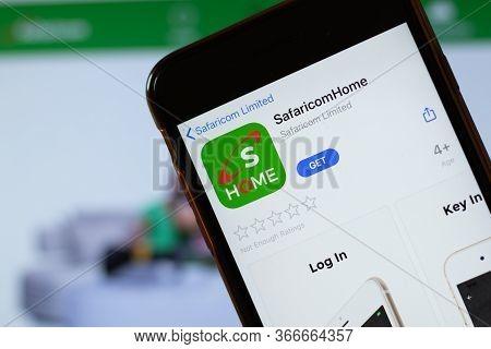 New York, Usa - 15 May 2020: Safaricomhome Mobile App Logo On Phone Screen, Close-up Icon, Illustrat