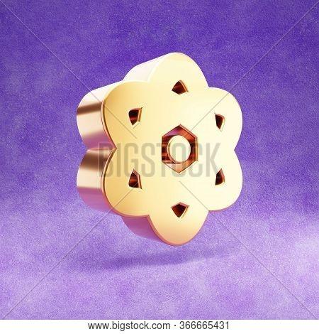 Atom Icon. Gold Glossy Atom Symbol Isolated On Violet Velvet Background. Modern Icon For Website, So