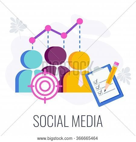 Social Media Infographics Pictogram. Virtual Community, Groups And Publics. Digital Marketing Strate