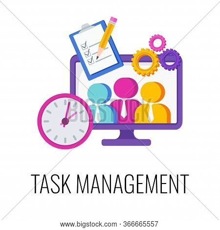 Task Management Infographics Pictogram. Strategy And Management. Planning And Achieving Goal. Increa