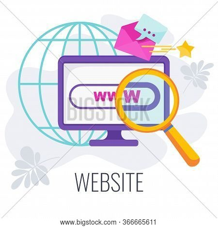 Website Design Icon. Search For Relevant Information On The Internet. Outbound Marketing. Engaging S