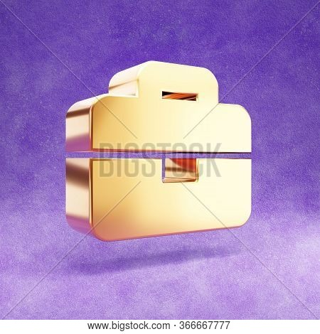 Briefcase Icon. Gold Glossy Briefcase Symbol Isolated On Violet Velvet Background. Modern Icon For W