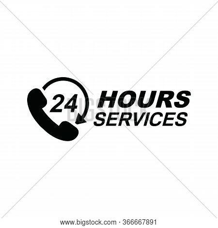 Twenty Four Hour Service Vector Icon For Your Business. Logo Element Illustration, Emblem, Label, Ba