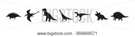 Set Of Dinosaurs For Laser Cutting. Black Silhouettes Of Dinosaurs And Pterodactyls. Vector Icons