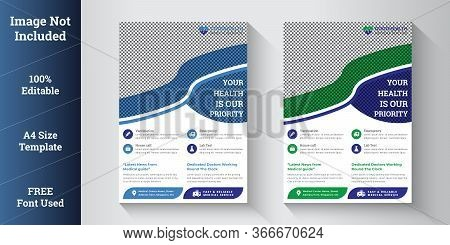 Medical Flyer Template | Healthcare Flyer | Poster, Brochure For Medical Business With Blue, Green C