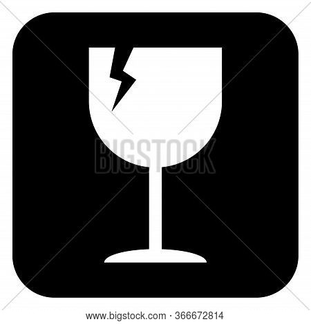 Fragile Flat Icon With Crack Isolated On Black Background. Fragile Package Symbol. Label Vector Illu