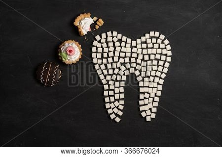 Sugar Destroy Tooth Enamel Leads Tooth Decay White Sugar Cubes Shape Form Tooth Brown Sugar Caries B