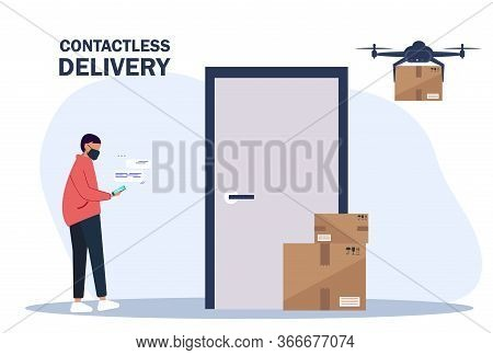 Vector illustration No contact delivery. Drone delivers boxes. Deliver man brings the boxes and puts them near the apartment door. Non-contact express delivery service. Self isolation and quarantine lifestyle. Contactless delivery concept illustration. Ve