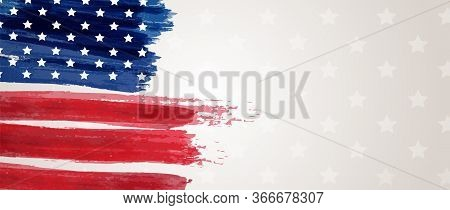 Usa Abstract Grunge Painted Flag Vertical Banner. Template For United States Of America National Hol
