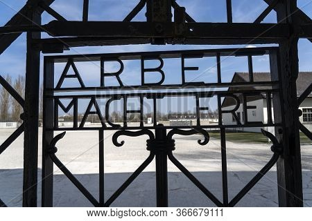 Dachau, Germany : April 2, 2019 - View Of The Main Gate At The Entrance To Dachau Concentration Camp