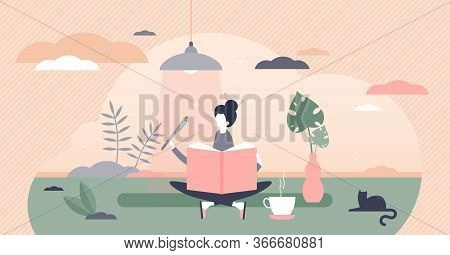 Journaling Vector Illustration. Writing Daily Diary Flat Tiny Persons Concept. Self Expression In Te