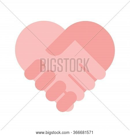 Charity Help Concept, Flat Holding Hands Heart Sign Vector Illustration. Health And Financial Crisis