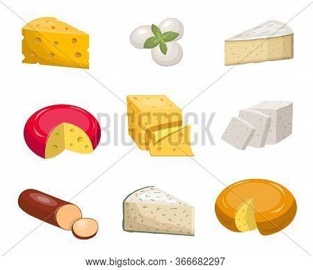 Cheese Set. Yellow Piece Cheddar Oval White Mozzarella Gouda Slice Blue Mold Roquefort Smoked Sausag
